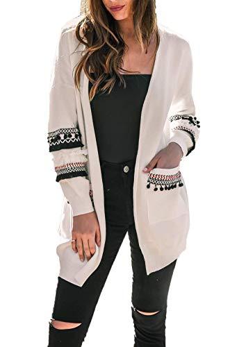 Ajpguot Strickjacke Damen Lang Mäntel Casual Langarm Cardigan Boho Patchwork Outwear Lose Coat mit Taschen, Herbst und Winter, Weiß, XL