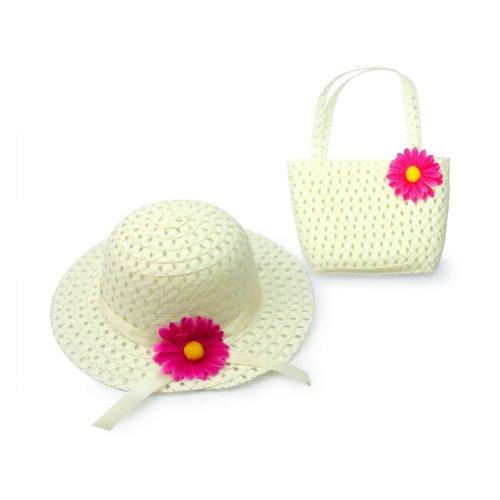 Lovely Charm Princess Mädchen Strohhut und Handtasche mit Blumendekoration, Weiß (Handtasche Mädchen Weiße)
