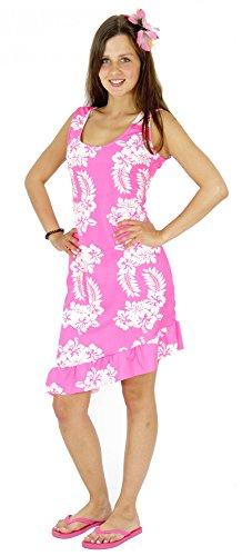 Kostüm Sommer - Foxxeo 40186 | Sexy Hawaii Kleid pink für Damen Karneval Strand Party Sommer Kostüm Gr. XS - XL, Größe:XS