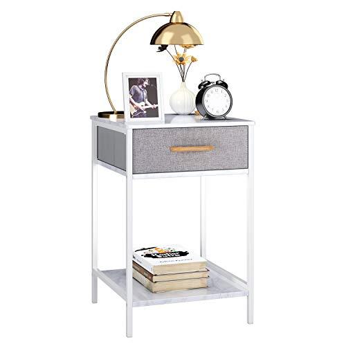 Homfa Beistelltisch Nachttisch Couchtisch Beistellschrank Nachtschrank Nachtkonsole Ablagetisch mit Schublade Stauraum marmor-weiß-grau Stoff-Holz-Metall 60x39x39cm(HxBxT)