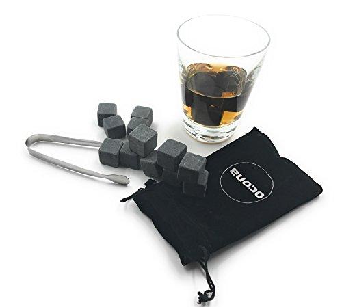 ocona© Premium Whisky Steine (12 Stück) wiederverwendbare Eiswürfel mit Eiszange Whiskysteine, Whisky Stones, Kühlsteine aus natürlichen Speckstein Geschenk Set (12 Specksteine)