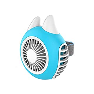 Mini-Lüfter, tragbarer Lüfter Blattloser Turbo-Stil USB-wiederaufladbarer tragbarer Desktop-Lüfter Neu mit drehbarem Zifferblatthalter,Blue