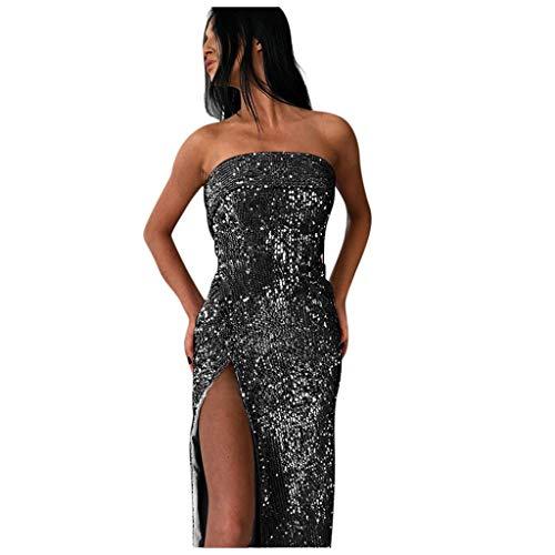 Bandeau Paillettes Robe, GreatestPAK Femme Paillettes Épaule Longue Split Crayon Robes Soirée Balle De Bal Robe De Bal