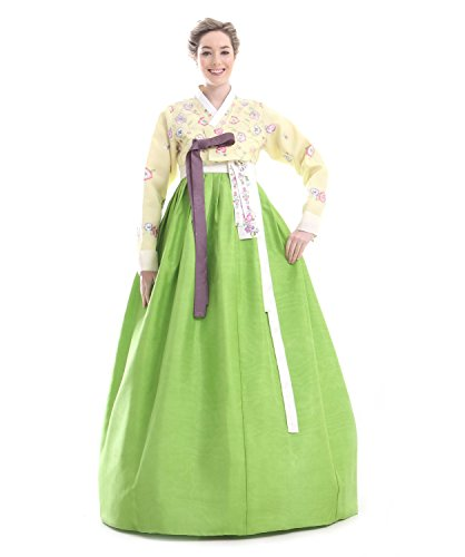 Custom-Made-Silk-Yellow-Green-Embroidery-Flower-Evening-Hanbok-Korean-Dress