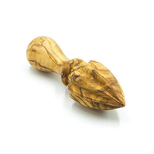 Madera de olivo de botón amarillo/exprimidor - longitud 15 cm