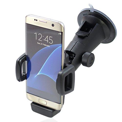 Smart Planet® Handyhalterung/KFZ Halterung inkl. Saugnapf für die Auto Scheibe – Halter inkl. 5 Adapter für Ladekabelbefestigung passend für iPhone 8/7, Galaxy S7 S8, OnePlus 6