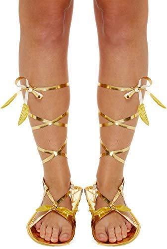(Damen Gold Römisch Griechisch Gladiator Krawatte Kostüm Kostüm Outfit Flache Sandale Zubehör - Gold, Eine Größe für alle)
