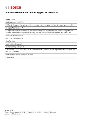 Bosch KIR18V60 Serie 2 Einbau-Kühlschrank / A++ / Kühlen: 154 L / Fest montiert -