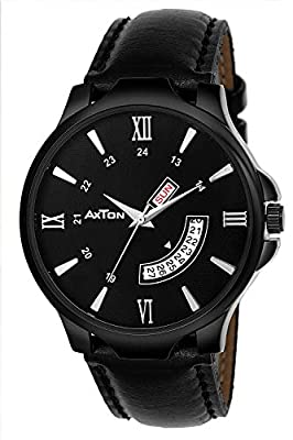 Axton Partywear/Formal/Casual Day and Date Analogue Display Black Dial Watch for Men & Boys (AXT_001)