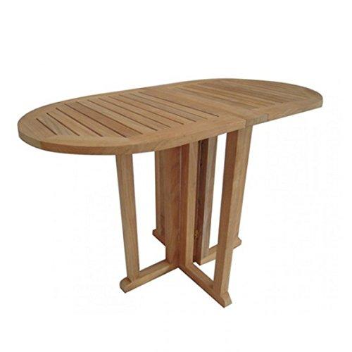 Garden Pleasure Gartentisch Teak Tisch klappbar Teaktisch oval Balkontisch 120x60cm Gartenmöbel Holz