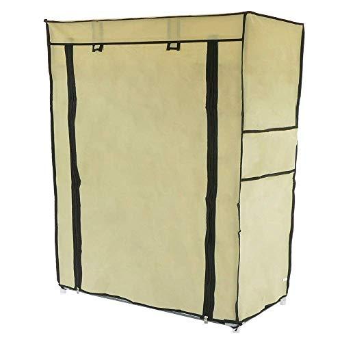 PrimeMatik - Armadio Guardaroba e Scarpe in Acciaio Tessuto 60 x 30 x 76 cm Beige con Porta avvolgibili