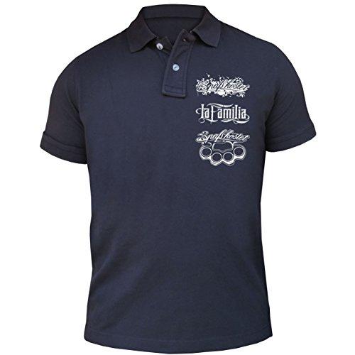 Männer und Herren POLO Shirt Spass kostet Feuer frei (mit Rückendruck) Dunkelblau