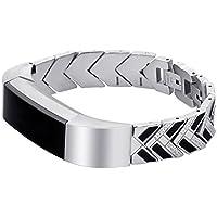 Bracelet, Yustar NEUF de remplacement de flèche à rayures réglable en acier inoxydable Watch Band Bracelet Bracelet pour Fitbit Alta/Alta HR tracker de fitness (Argent)