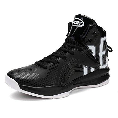 GOMNEAR Hommes Basketball Chaussures Hi-Top Baskets Mixte Noir Rouge Blanc Orange Sneaker en Plein Air G6Noir blanc