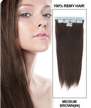 Romantic Angels® 20 bandes adhésives extensions de cheveux humain, 60 cm de longueur - 100% de haute qualité, Coleur:#4 brun chocolat