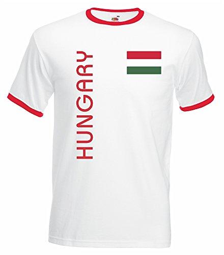 world-of-shirt Herren Retro T-Shirt Ungarn Trikot EM 2016 Weiss