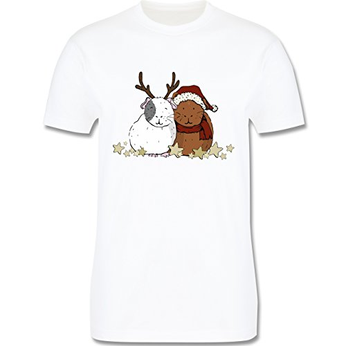 Weihnachten & Silvester - Weihnachtliche Meerschweinchen - Herren Premium T-Shirt Weiß