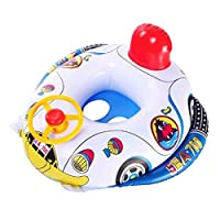 begorey Cartoon Boat Pattern Baby Inflatable Swimming Ring Seat Rings