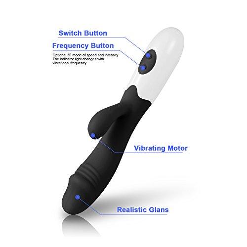 Sexspielzeug Vibratoren-für-sie, Philotoys wasserdicht Vibrator Dildo vibratoren für sie klitoris und g-punkt vibratoren für sie mit stoßfunktion Massagegerät Rabbitvibrator mit 30 Modi Dildo Vibratoren Dual Motoren medizinisches Silikon (Schwarz)Vibratoren (Schwarz) - 2