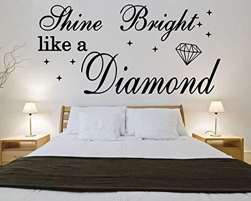 yiyitop Shine Bright Like A Diamond Rihanna Vinyl Zitat Wandaufkleber Lyrics Abziehbild Wand Poster Kunst/sh 60 * 27 cm (Rihanna Von Lyrics Die)