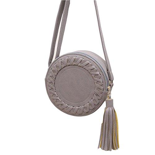 Kleine Damen Runde Tasche Handtasche /Ausgehtasche Umhängetasche Schultertasche Rot Einheitsgröße Grau
