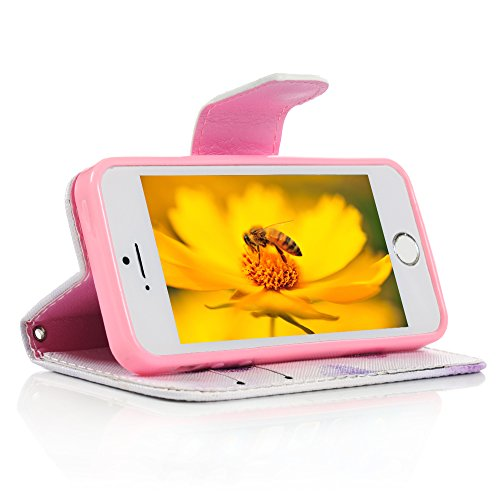 Mavis's Diary iPhone 5 5S 5G PU Lederhülle Tasche Flipcase Kunstleder Schutzhülle Cover Schale Etui Magnetverschluss Standfunktion mit Cardslots Halter Falten Case Lila Löwenzahn Lila Löwenzahn