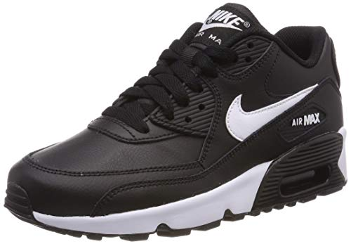 3b8f48b68a Nike Girls'' Air Max 90 Leather Running Shoes, (Black/White/