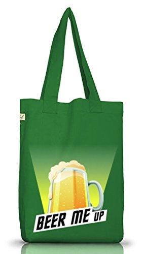 Jutebeutel Earth Positive für Bierfreunde. Beer me up Moss Green