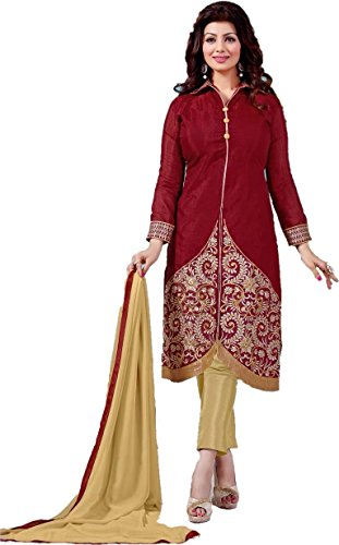 Women's Clothing Lower Price Indian Ethnic Buy Online Cotton Maroon Beige Unstitched Printed Dress Material Salwar Suit Khameez Kurta  available at amazon for Rs.389