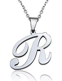 Jstyle Buchstaben Anhänger Nameanhänger Schmuckteile A- Z Charm 26 Alphabete Ketteanhänger Halskette Farbesilber für Damen Frauen 55cm