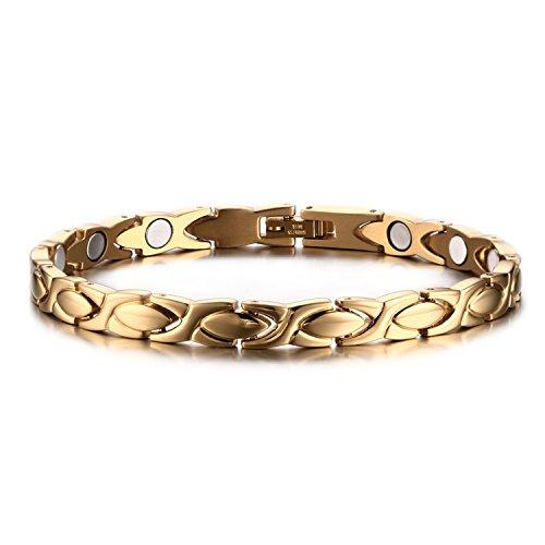 JewelryWe Schmuck Damen Armband, Elegant X Oval Link Charm Magnetix Magnetarmband Armkette Armreif, Edelstahl, Gold
