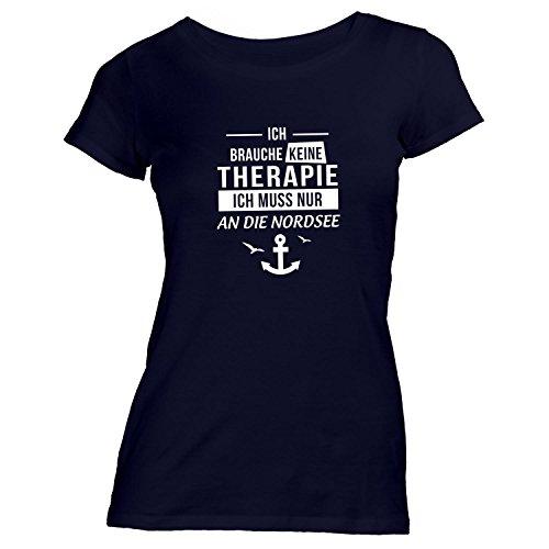 Damen T-Shirt - Ich Brauche Keine Therapie Nordsee - Anker Möwen Maritim Schwarz