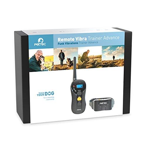 PetTec Remote Vibra Trainer Advance Wasserdichter Ferntrainer mit 600m Reichweite Erziehungshalsband mit Vibrations- oder Tonsignal per Fernbedienung Antibell IPX7