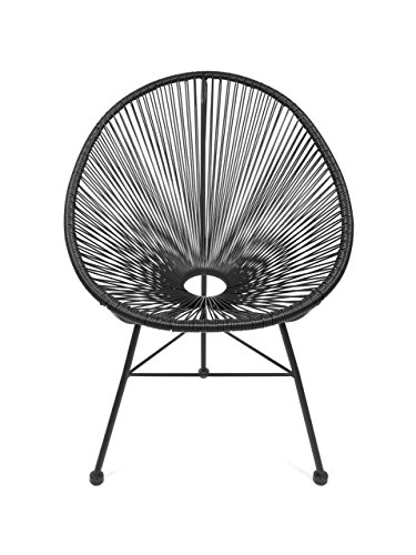 Retro Acapulco Lounge Relax Sessel Chair Rahmen & Füße Pulverbeschichtet Indoor Outdoor Schwarz