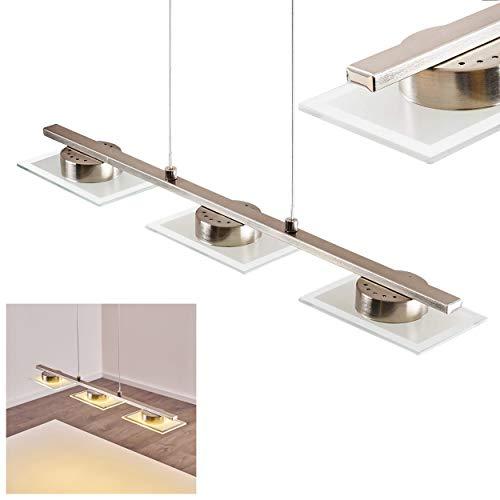 LED Pendelleuchte Holsted, längliche Hängelampe aus Metall/Glas in Nickel-matt, 3-flammige Hängeleuchte, 15 Watt (3 x 5 Watt), 1035 Lumen (insgesamt), Lichtfarbe 3000 Kelvin (warmweiß)