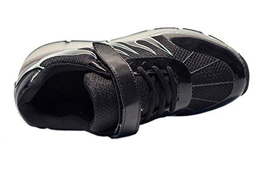 ECOTISH 7 Farbe USB Aufladen LED Leuchtend Sport Schuhe Sneaker Schuhe Mit Rollen Skateboard Led Leuchtet Sohle Leuchtend Sport Turnschuhe für Unisex-Kinder Junge Mädchen Schwarz