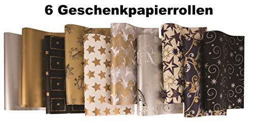 6 Rollen Weihnachtspapier, Geschenkpapier 2m x 0,70m Weihnachten Diverse Motive
