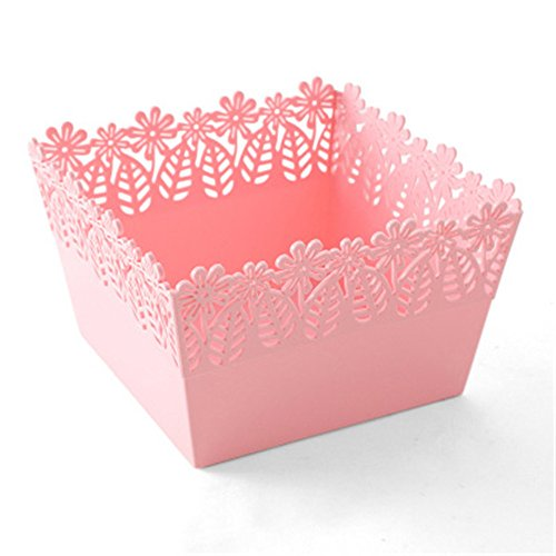 baffect Blumen Desktop Aufbewahrungsbox Cute Office Supplies Kosmetik, Handy Organizer Bad Behälter, plastik, rose, 20*20*13cm