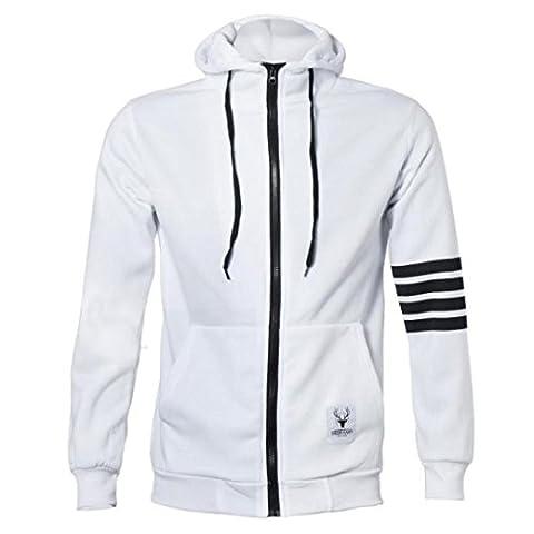 Tonsee® Mode homme Pulls Marque Sport Suit Haute Qualité Sweatshirt à capuche Casual Zipper capuche Vestes Homme (M, Blanc)