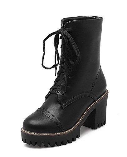 AgeeMi Shoes Femme PU Cuir Haut Demi Couleur Unie Lacet à Talon Haut Bottes Noir