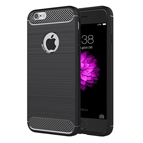 Phone case & Hülle Für iPhone 6 Plus / 6s Plus, Brushed Texture Fiber TPU Rugged Armor Schutzhülle ( Color : Black ) Black