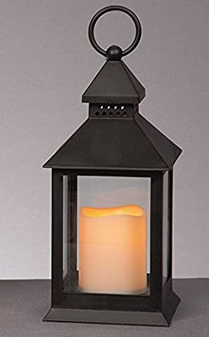 forestfox™ LED Garden Lantern Light With Flickering Amber Flame Candle Patio Lighting 24cm in Black