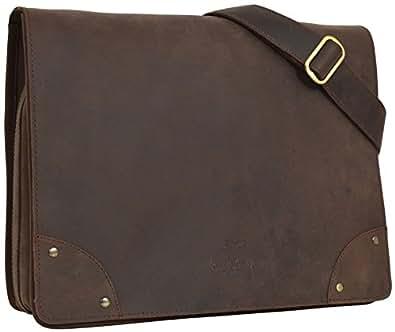 """Gusti Cuir studio """"Allan"""" sac notebook 15,4"""" sac à bandoulière sac porté épaule sac en cuir véritable messenger cartable besace sacoche iPad Air classeur université marron foncé 2H4-20-4"""
