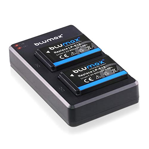 Blumax 2X Akku + Slim Dual flaches Ladegerät kompatibel mit Canon LP-E12 | 800mAh | für EOS M | EOS M50 | EOS M2 | EOS M10 | EOS 100D | EOS Rebel SL1 -