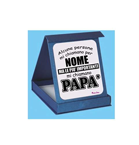 Targa targhetta adesiva scatola scritta le piu importanti chiamano papà festa