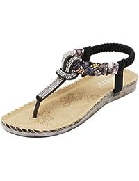 Sandalias Mujeres Bohe Rhinestone Moda Plano Talla grande Bohemia Sandalias casuales Zapatos de playa LMMVP