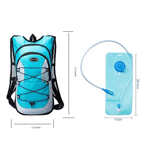 Tancendes Hydration Pack Rucksack Wasser Rucksack 12L Nylon Rucksack mit 2L Wasser Blase für Reiten Wandern Running Biking Tasche 8 Farben passt Männer Frauen Kid Blau