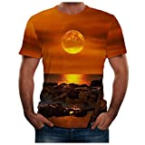 MOTOCO Herren Kurzarm T-Shirt Top Sommer / T580 O Kragen 3D Print Plus Größe XS-2XL Slim Shirt Bluse(2XL,Gelb)