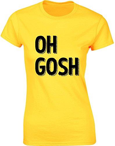 Brand88 - Brand88 - Oh Gosh, Gedruckt Frauen T-Shirt Gänseblümchen-Gelb/Schwarz