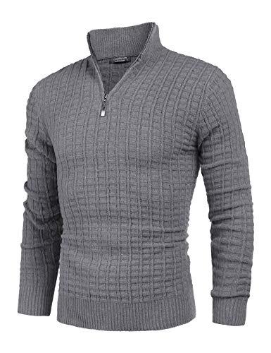 Coofandy Feinstrick Pullover Herren Mit Stehkragen Und Reißverschluss aus Baumwollmischung Grobstrick Pullover Mit Stehkragen Und Reißverschluss